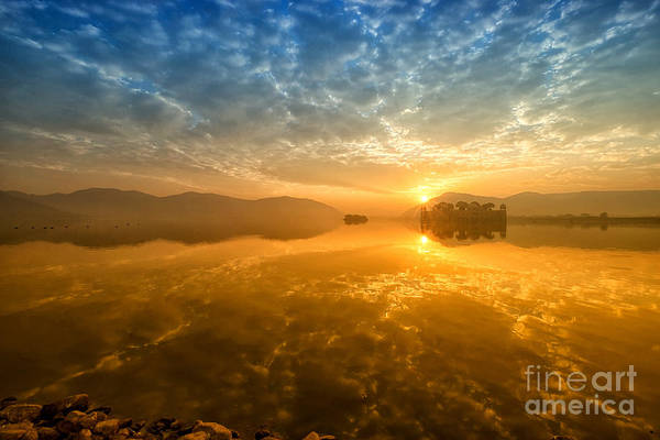 Photograph - Sunrise At Jal Mahal by Yew Kwang