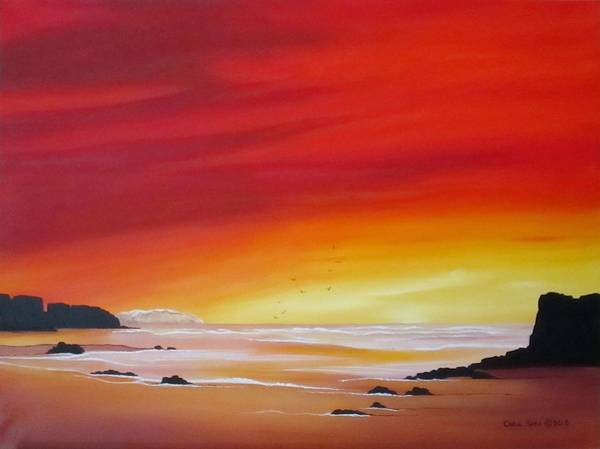 Wall Art - Painting - Sunrise At Low Tide by Carol Sabo
