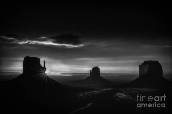 The Mitten Photograph - Sunrise At Monument Valley In Black And White by Priscilla Burgers