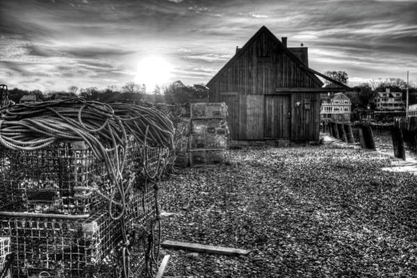 Photograph - Sunrise At Motif #1 In Gloucester Ma Black And White by Toby McGuire