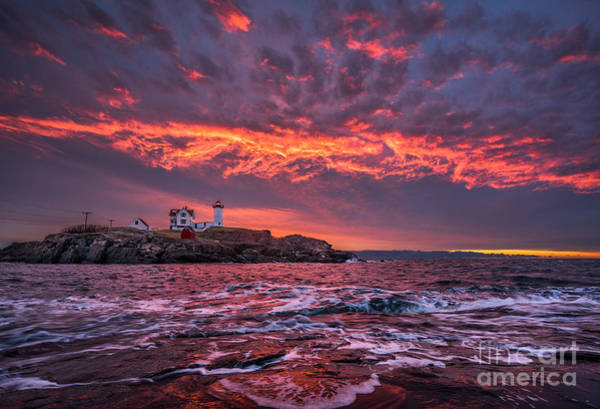 Wall Art - Photograph - Sunrise At Nubble Lighthouse by Benjamin Williamson