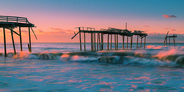 Art Print featuring the photograph Sunrise At Outer Banks Fishing Pier In North Carolina Panorama by Ranjay Mitra