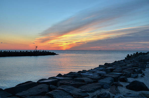 Pleasant Photograph - Sunrise At Point Pleasant Inlet by Bob Cuthbert