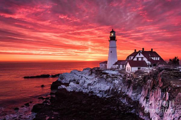Cape Elizabeth Photograph - Sunrise At Portland Head Lighthouse by Benjamin Williamson
