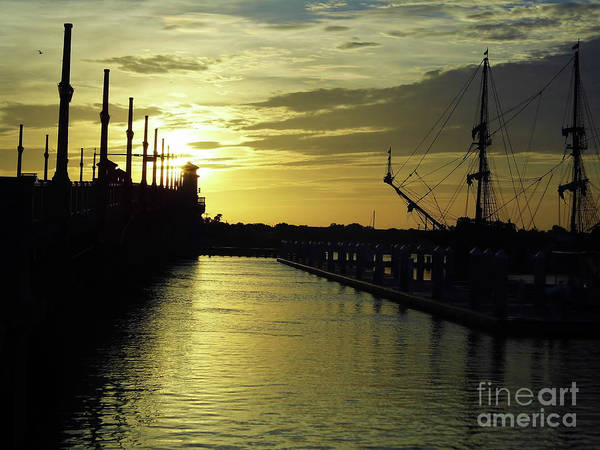 Photograph - Sunrise At St Augustine Harbor by D Hackett