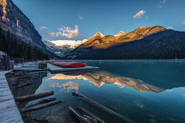 Photograph - Sunrise At The Canoe Shack Of Lake Louise by Pierre Leclerc Photography