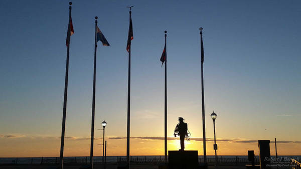 Photograph - Sunrise At The Firefighters Memorial by Robert Banach