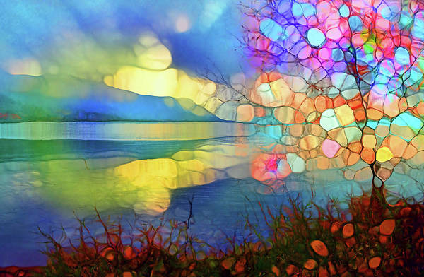 Distortions Digital Art - Sunrise At The Lake by Tara Turner