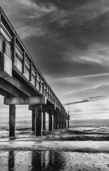 St Augustine Photograph - Sunrise At The Pier-bw by Marvin Spates