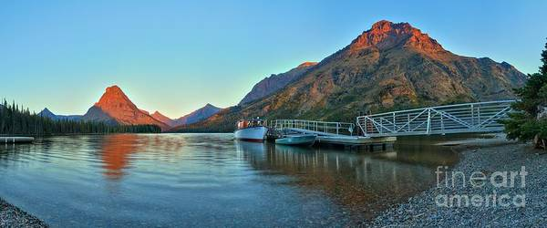 Photograph - Sunrise At The Two Medicine Dock by Adam Jewell