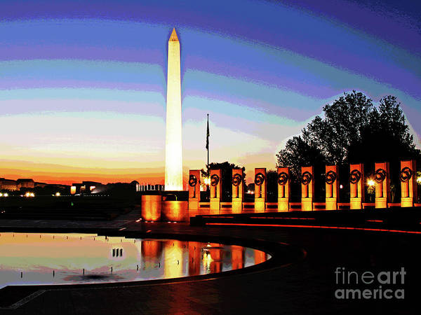 Photograph - Sunrise At Wwii Memorial by Larry Oskin