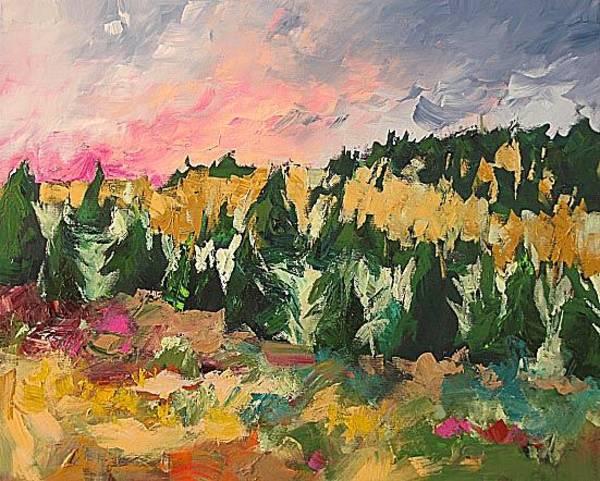 Fauve Painting - Sunrise Beyond The Ridge by Linda Monfort