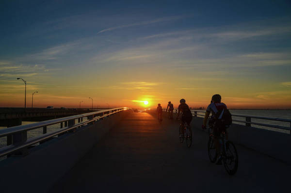 Photograph - Sunrise Bike Ride - Courtney Campbell Causeway  by Bill Cannon