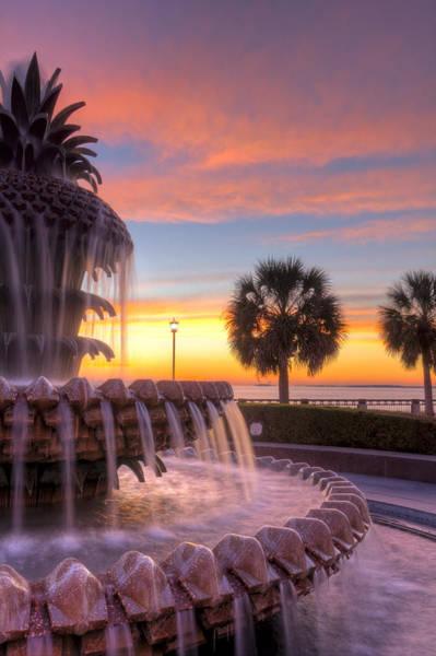 Photograph - Sunrise Charleston Pineapple Fountain  by Dustin K Ryan