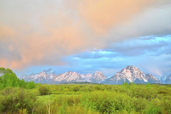 Photograph - Sunrise Color Over The Tetons And Mt. Moran by Ray Mathis