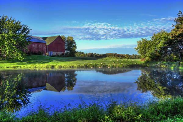 Photograph - Sunrise Farm Pond Reflection by Dale Kauzlaric