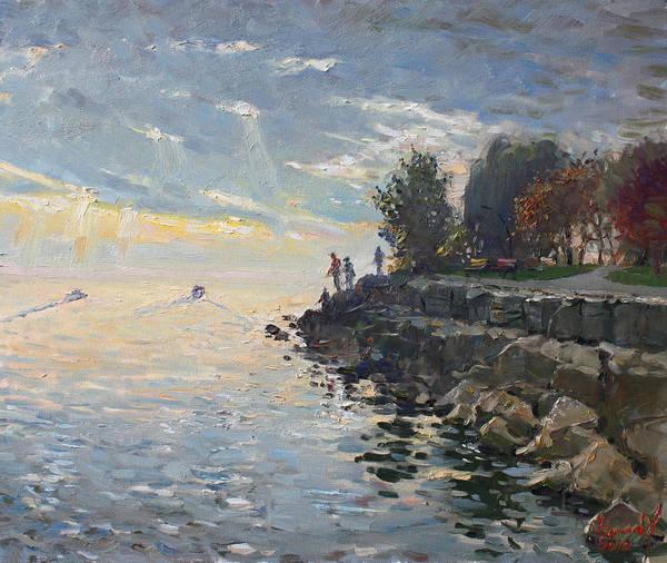 Wall Art - Painting - Sunrise Fishing by Ylli Haruni
