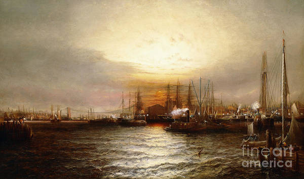 Wall Art - Painting - Sunrise From Chapman Dock And Old Brooklyn Navy Yard, East River, New York by Elisha Taylor Baker