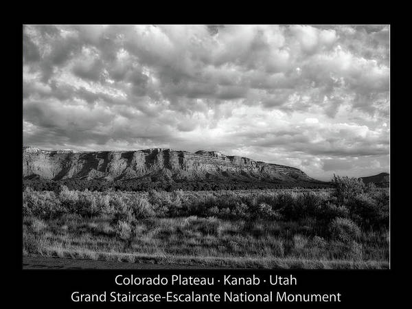 Zion Mixed Media - Sunrise Grand Staircase Escalante National Monument Utah Text Bw Black by Thomas Woolworth