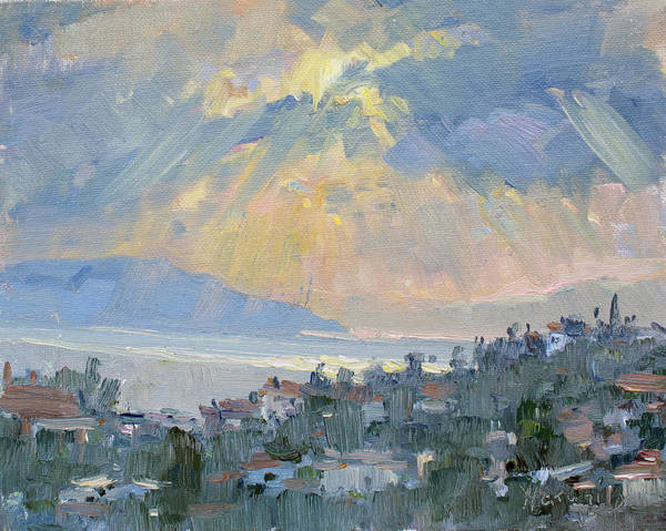Greece Painting - Sunrise In Dhilesi Athens  by Ylli Haruni