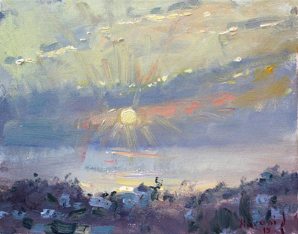 Greek Painting - Sunrise In Egey Sea Greece by Ylli Haruni