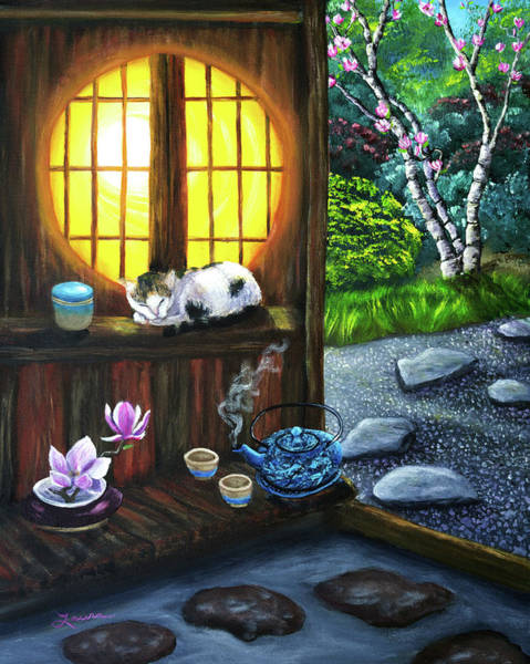 Teacup Painting - Sunrise In Moon Window by Laura Iverson