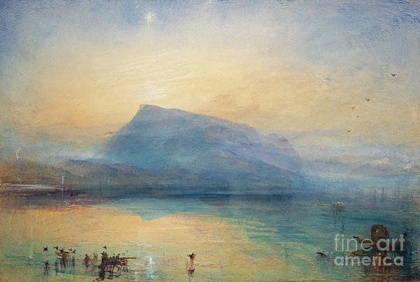Mountain Lake Painting - Sunrise by Joseph Mallord William Turner