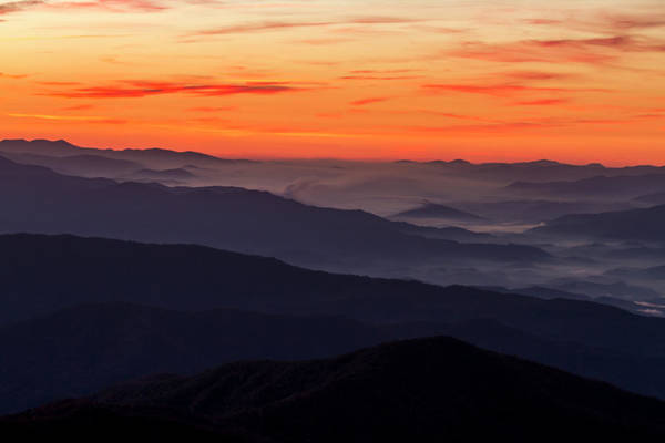 Photograph - Sunrise Layers In The Smoky Mountains by Teri Virbickis