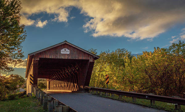 Photograph - Sunrise On He Gorham Bridge, Pittsfield, Vermont by Tim Bryan