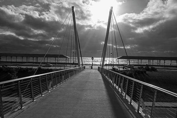 Photograph - Sunrise On Revere Beach Revere Ma Bridge Sunrays Black And White by Toby McGuire