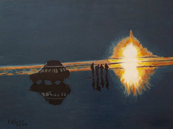 Avi Painting - Sunrise On Salt Lake In Bolivia by Avi Lehrer