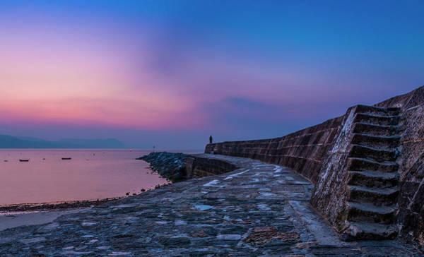 Sunrise On The Cobb, Lyme Regis, Dorset, Uk. Art Print