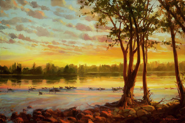 Horizon Wall Art - Painting - Sunrise On The Columbia by Steve Henderson