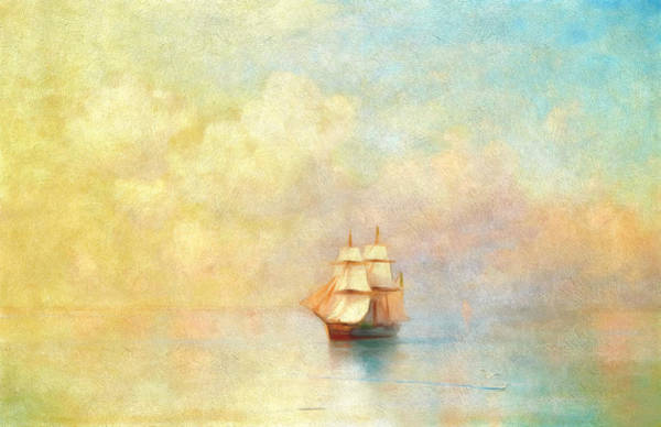 Boats Wall Art - Painting - Sunrise On The Sea by Georgiana Romanovna