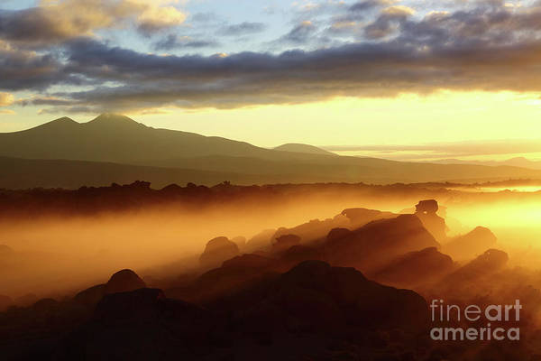 Photograph - Sunrise Over Ancient Rock Forests Nor Lipez Bolivia by James Brunker