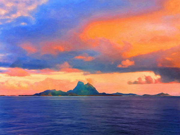 Fatu Hiva Wall Art - Painting - Sunrise Over Bora Bora by Dominic Piperata