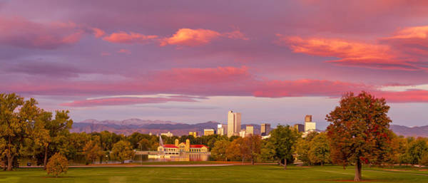 Photograph - Sunrise Over Denver Colorado Skyline In Fall by Teri Virbickis