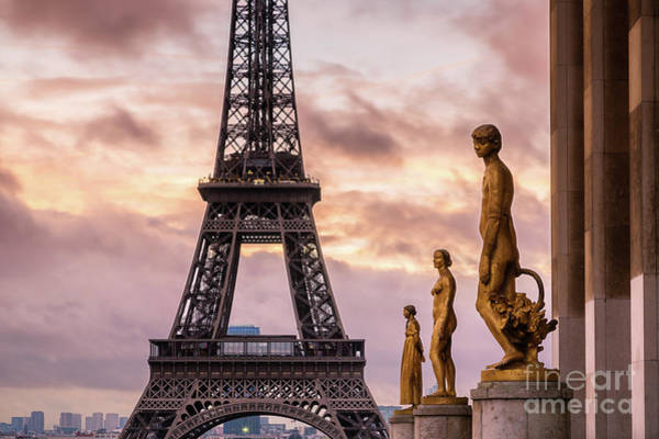 Wall Art - Photograph - Sunrise Over Eiffel Tower With Statues, Trocadero, Paris, France by Matteo Colombo
