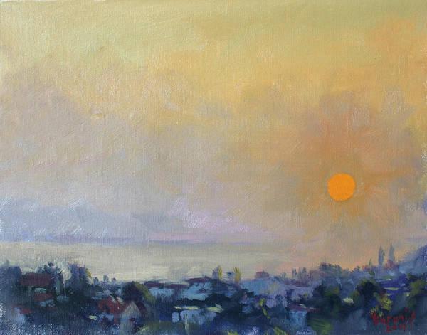 Greece Painting - Sunrise Over Evia Island Greece by Ylli Haruni
