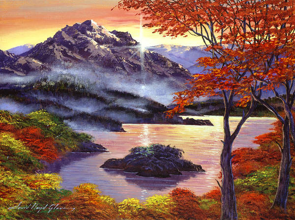 Painting - Sunrise Over Mystic Lake by David Lloyd Glover