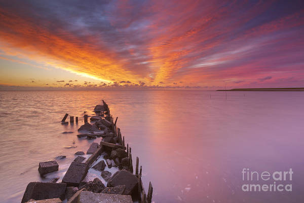 Waterbreak Wall Art - Photograph - Sunrise Over Sea On The Island Of Texel In The Netherlands by Sara Winter