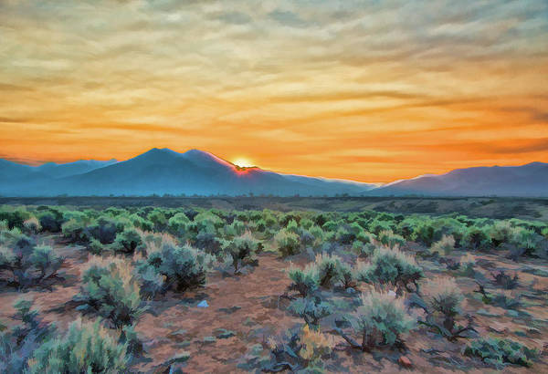 Painting - Sunrise Over Taos by Charles Muhle