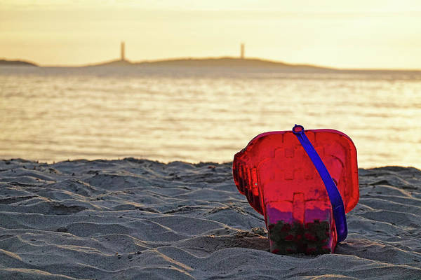 Photograph - Sunrise Over Thacher Island From Long Beach In Gloucester Ma Sand Bucket by Toby McGuire