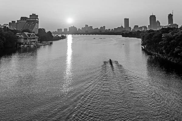 Photograph - Sunrise Over The Charles River Boston Ma Black And White by Toby McGuire