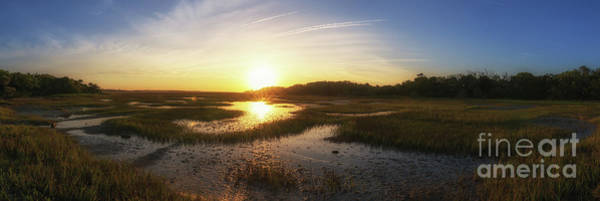 Marsh Grass Photograph - Sunrise Over The Marsh Pano by Michael Ver Sprill