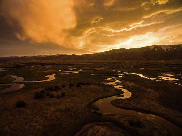Sunrise Over Winding Rivers Art Print