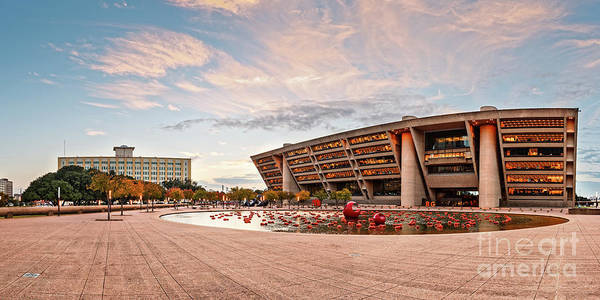 Wall Art - Photograph - Sunrise Panorama Of Downtown Dallas City Hall And Park Plaza Reflection Pool - North Texas by Silvio Ligutti