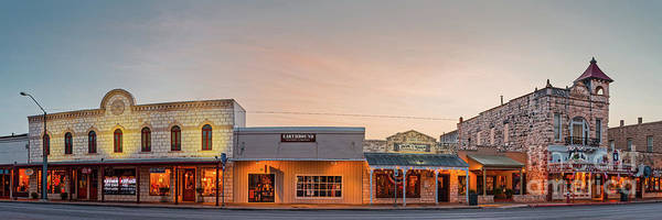 Photograph - Sunrise Panorama Of Downtown Fredericksburg Historic District - Gillespie County Texas Hill Country by Silvio Ligutti