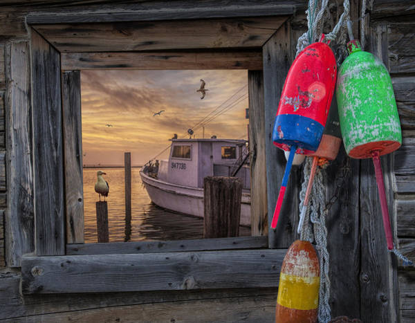 Photograph - Sunrise Photograph Of Boat With Gulls And Fishing Buoys by Randall Nyhof