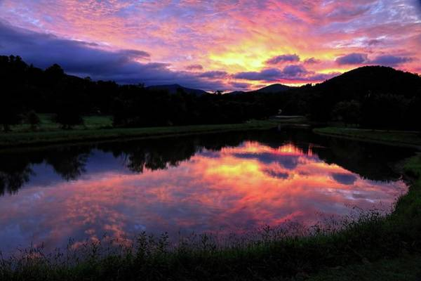 Photograph - Sunrise Reflection Silhouette In The Smoky Mountains by Carol Montoya
